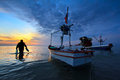 Fishing boat at sunset thailand Royalty Free Stock Photos