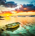 Fishing boat at sunset time. Beautiful landscape. Royalty Free Stock Photo