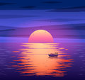 Fishing boat sunset vector background concept Royalty Free Stock Photo
