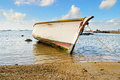 Fishing boat traditional ashore in the north of mauritius Stock Photography