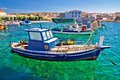 Fishing boat on turquoise sea razanac dalmatia croatia Stock Image