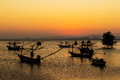Fishing boat on twilight time in thailand Stock Photos