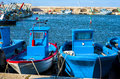 Fishing boats anchored in the harbor. Royalty Free Stock Photo