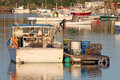 Fishing boats anchored in the harbor in maine Stock Photo