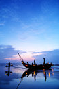 Fishing boats boat in beach in early morning Stock Image