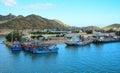Fishing boats at cam ranh piers in nha trang vietnam Royalty Free Stock Image