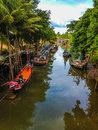 Fishing boats on canal traditional in thailand Stock Images