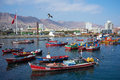 Fishing boats colourful wooden in the harbour at antofagasta in the atacama region of chile Royalty Free Stock Images