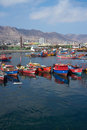 Fishing boats colourful wooden in the harbour at antofagasta in the atacama region of chile Stock Images