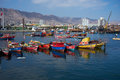 Fishing boats colourful wooden in the harbour at antofagasta in the atacama region of chile Royalty Free Stock Photos