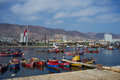 Fishing boats colourful wooden in the harbour at antofagasta in the atacama region of chile Royalty Free Stock Image