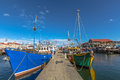 Fishing boats docked at jetty hobart the wooden in harbour franklin wharf tasmania australia Royalty Free Stock Image
