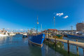Fishing boats docked at jetty hobart the wooden in harbour franklin wharf tasmania australia Royalty Free Stock Images