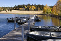 Fishing Boats and Fall Colors In Arizona Stock Images
