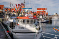 Fishing boats in the harbor of svaneke on bornholm denmark Stock Photography