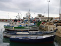 Fishing Boats in the harbour at Javea Stock Image