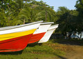 Fishing boats on land Big Corn Island Nicaragua Royalty Free Stock Photo