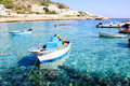 Fishing boats in levanzo the beautiful mediterranean sea the island Stock Image