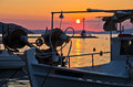 Fishing boats in Limenas harbour at sunset, island of Thassos Royalty Free Stock Photo
