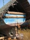 Fishing boats lined along the shore. India, Karnataka Royalty Free Stock Photo