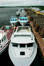 Fishing Boats Lined Up Royalty Free Stock Image