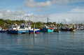 Fishing boats lymington hampshire october moored in the harbour at in where the new forest meets the solent Stock Images