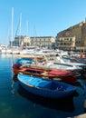 Fishing boats moored in Borgo Marinari harbor. Naples, Italy. Royalty Free Stock Photo