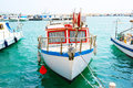 Fishing boats in old port mediterranean sea Royalty Free Stock Images