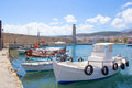Fishing boats in old port in rethymno greece Royalty Free Stock Photography