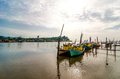 Fishing boats park at jetty Royalty Free Stock Photos