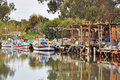 Fishing Boats on a River in Cyprus Royalty Free Stock Photo