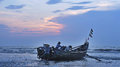 Fishing boats in the sea in early morning Royalty Free Stock Image