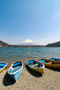 Fishing boats, Shoji Lake, Mount Fuji, Japan Royalty Free Stock Photo