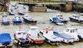 Fishing boats stuck in mud at low tide folkestone england september st bright the folkestone kent is an important town Royalty Free Stock Photography