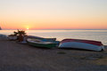 Fishing boats at sunrise over altea bay with ashore costa blanca spain Stock Photos