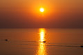 Fishing boats at sunrise. Royalty Free Stock Photo
