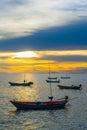 Fishing boats at sunset Stock Image