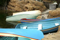 Fishing Boats Turned Upside Down to Dry Royalty Free Stock Photos