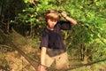 Fishing boy little kid prepairing net for Royalty Free Stock Photography