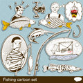 Fishing cartoon set collection of different Stock Images