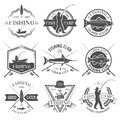 Fishing Club Black White Emblems Set Royalty Free Stock Photo