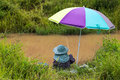 Fishing colorful umbrella. Royalty Free Stock Photo