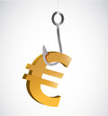 Fishing for currency euro illustration design over a white background Stock Images