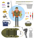 stock image of  Fishing equipment set flat vector illustration.