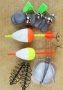 Fishing equipment on wood background Stock Photo