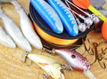 Fishing equipment on wooden background Royalty Free Stock Photography