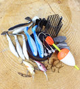 Fishing equipment on wooden background Stock Photo