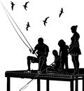 Fishing family silhouette vector hobby activity natural Royalty Free Stock Image