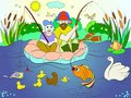 Fishing father and son on the river coloring for children cartoon vector illustration Royalty Free Stock Photo