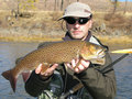 Fishing - fisherman with big trout Royalty Free Stock Photo